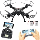 FPV Drone With Camera, RC Quadcopter Drone Remote Control Helicopter Airplane Toys With Headless Mode, Real Video Camera Drone
