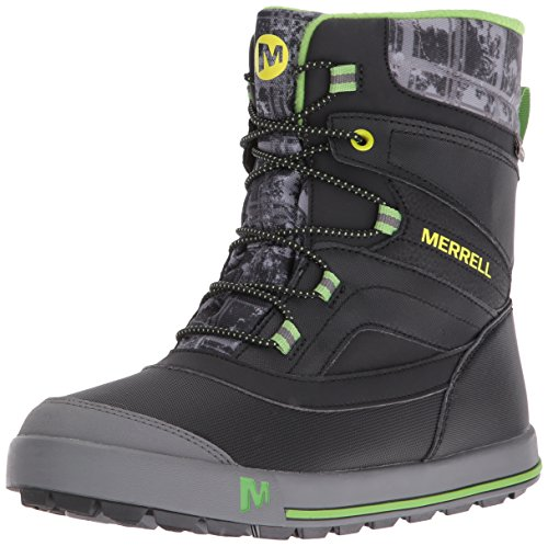 Merrell Jungen Snow Bank 2.0 Waterproof Trekking-& Wanderschuhe, Schwarz (Black/Grey/Green), 33 EU -