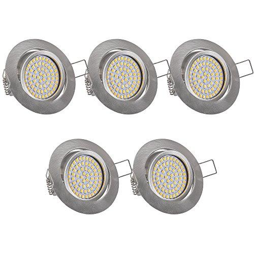 Lu-Mi® 5 x flache LED Einbaustrahler - Ultra Flach Einbaustrahler | 350 Lumen | 230V | 3,5W | Licht: Warmweiss 3200K | Gehäuse Rund | (Edelstahl gebürsted)