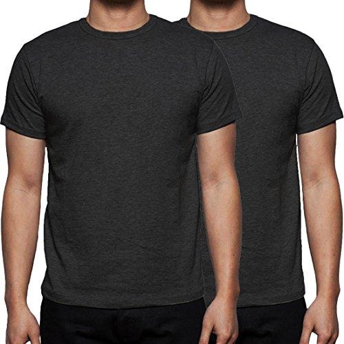 Neue Mens Gaffer Multi Pack viel reiner grundlegende Baumwolle lässig leere t-Shirt Top 2Pack-Charcoal