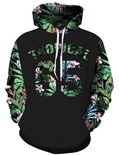 Loveternal Unisex Hoodies Pflanze 3D Print Pullover Langarmshirts Leichte Sweatshirts Mit Taschen S/M