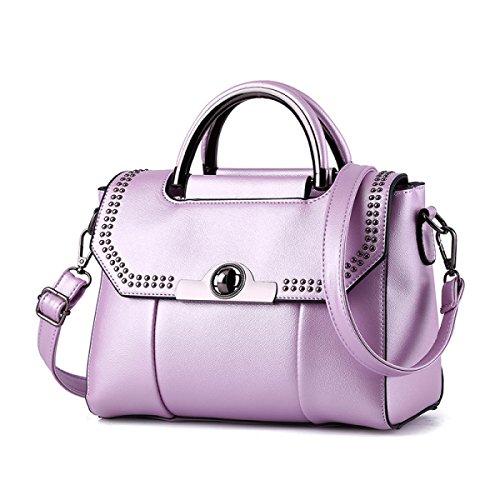Damen Leder Schultertasche Elegante Mode Schultertasche Messenger Bag Handtasche Damen Schultertasche (schwarz) Purple