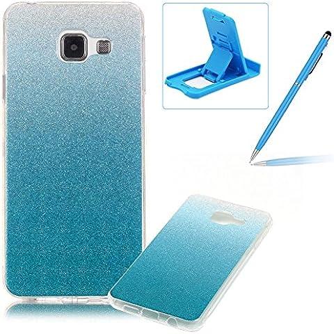 Samsung Galaxy A310(2016 Model) Caja de goma de silicona resistente a los arañazos,Samsung Galaxy A310(2016 Model) Ajuste perfecto La caja del gel de parachoques suave,Herzzer Luxury Elegante [Gradiente de color luz de las estrellas] Piel del arco iris del brillo de la jalea ligero flexible Gel Shell protector de la contraportada para Samsung Galaxy A310(2016 Model) + 1 x Azul pata de cabra + 1 x Azul Lápiz óptico - Azul