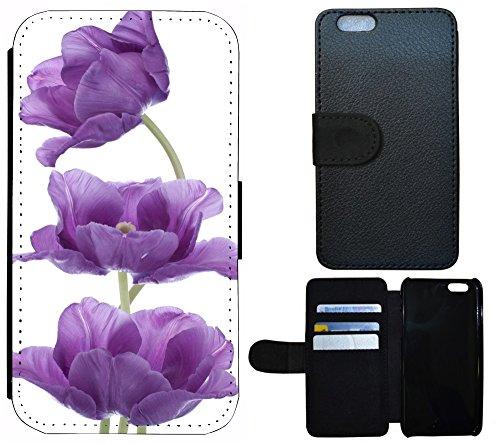 Flip Cover Schutz Hülle Handy Tasche Etui Case für (Apple iPhone 4 / 4s, 1203 Hund Mops Braun Weiß) 1196 Blume Lila Weiß
