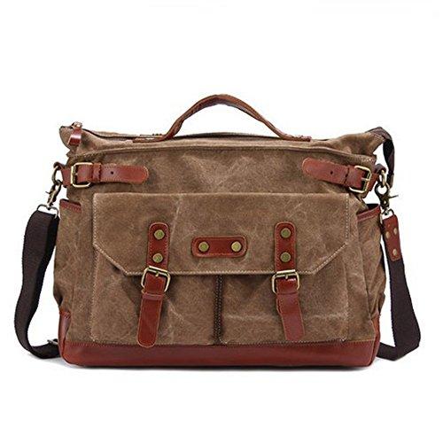 Aidonger Unisex Vintage della tela di canapa e spalla in pelle Borsa retrò Messenger Bag (Cachi) Khaki