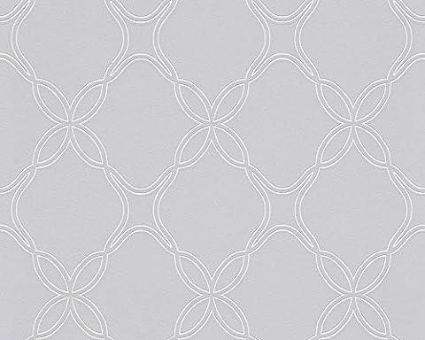 Schöner Wohnen Vliestapete Tapete grafisch 10,05 m x 0,53 m grau metallic weiß Made in Germany 303841