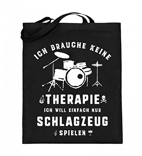 Hochwertiger Jutebeutel (mit langen Henkeln) - Schlagzeug spielen statt Therapie - Die Schlagzeug Geschenkidee ist erhältlich als Pullover, Hoodie, Schlagzeug Shirt, Musiker Tasse, Rucksack, Sweater