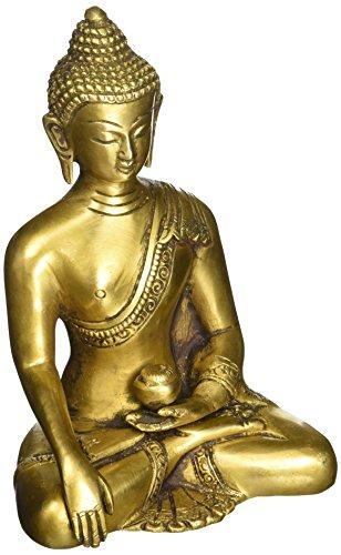 souvnear Thai Buddha meditierend Peace Harmony Statue, [Dhyana Mudra-] Religiöse Decor Handgefertigt Messing antik Look Shakyamuni Skulptur Figur [15,2cm groß/Gewicht 2,2Pfund]