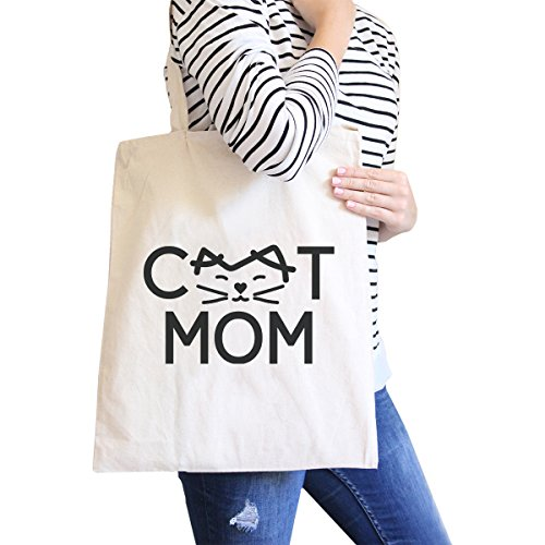 365 Printing inc , Borsa da spiaggia  Donna MamaBird - Black Cat Mom - Natural