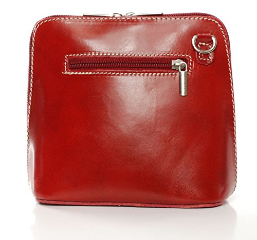 Vera Pelle italiana di borsa a tracolla da donna Rosso (rosso)