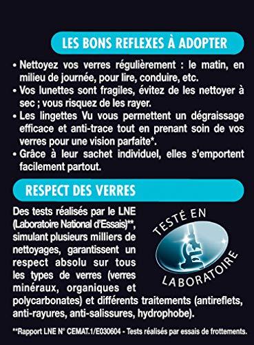VU - Nettoyant optique - Lingettes Nettoyantes Lunettes - Ultra Dégraissant et Anti Trace - 24 Lingettes