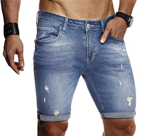 LEIF NELSON Herren Männer Jungen Sommer Jeans Shorts Jeanshose Chinos Cargo Bermuda Basic kurze Hose 5-pocket Destroyed used Stretch Freizeithose Denim Slim Fit LN9130; W33; Blau