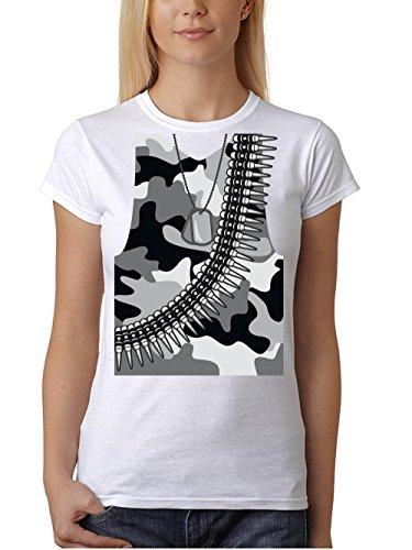 clothinx Damen T-Shirt Unisex Karneval 2019 Soldaten-Kostüm Weiß Größe M