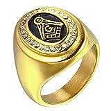 Titan Stahl Herren AG Freimaurer Religiöse Überprüfe Diamant Ringe,Größe 72 (22.9)