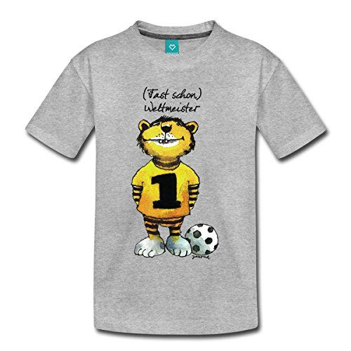 Spreadshirt Janosch Tiger Fast Schon Weltmeister Kinder Premium T-Shirt, 110/116 (4 Jahre), Grau Meliert (Fußball-t-shirt Dribbeln, Mädchen)