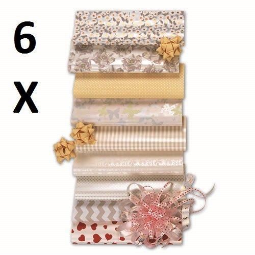 6 Stück Hochzeit Geschenkpapier, Geschenkrolle MIX, 12 m x 0,70 m (Hochzeit, Geschenkpapier)