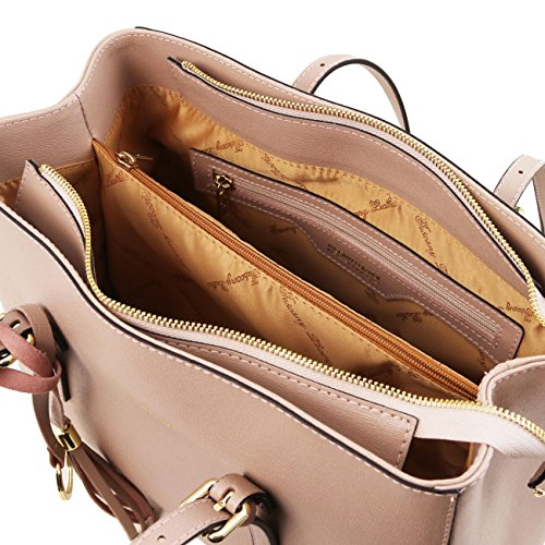 Tuscany Leather TL Bag Borsa a mano in pelle Saffiano Nero Nude
