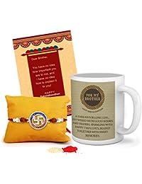 Tied Ribbons Rakhi For Brother With Gift (Designer Rakhi, Printed Coffee Mug, Rakshabandhan Special Card, Roli...
