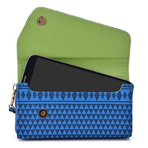 Kroo d'embrayage avec dragonne Portefeuille 16cm Smartphones et phablettes pour Pantech Vega No 6 Rose bleu marine