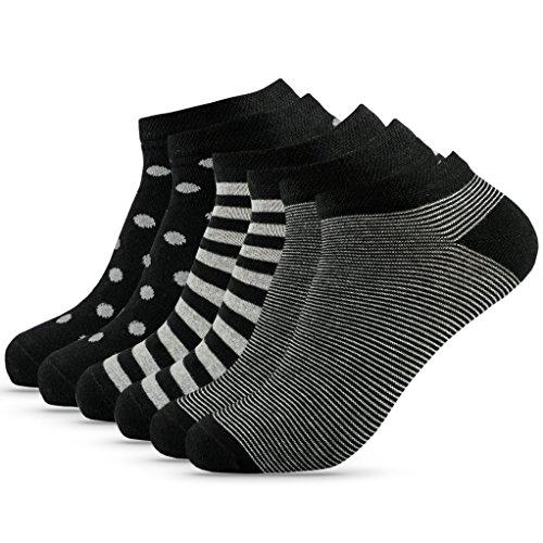 OAKLINE 6 Paar Sneaker Herren Sneaker Socken Schwarz 43-46 weiss 43 44 45 46 bunt streifen punkte Füßlinge Füsslinge Baumwolle muster Kurz weiss Sport Herrensocken (black&white, 43-46)