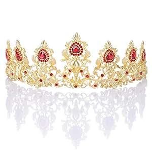 Remedios Retro Kristall Hochzeit Braut Tiara Genickstück Königin Krone Gold