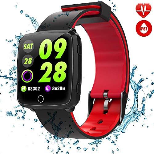 C-Xka Große Farbe Touchscreen Doppel-Farbband IP67 Wasserdichte Smart Watch, 8 Trainingsmodi Echtzeit-Überwachung Unterstützung Schlafüberwachung Schrittzähler Benachrichtigungen Erinnern Aktivität Tr