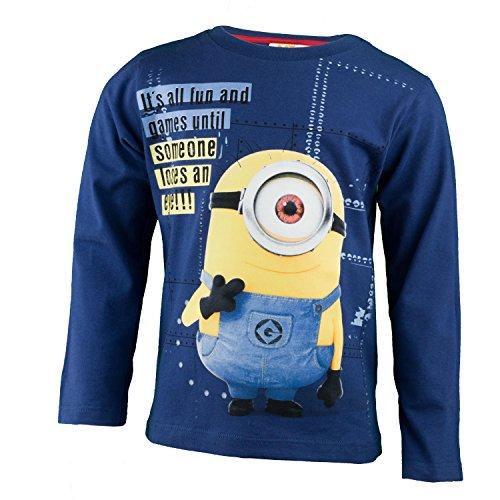 Aus 100% Jersey Baumwolle, Langarm T-Shirt für Jungen mit Stuart Aus Ich Einfach Unverbesserlich - Shirt Farbe: Blau, Gr. 110 (Minion Kinder Outfit)