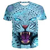 ZKOOO Verano Hombre T-Shirts 3D Tigre Digital Impreso Suelto Camisetas Manga Corta tee Shirt O-Cuello Casual Tops