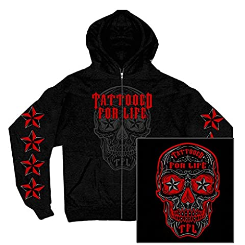Sugar Skull Dia de Muerto Tattoo Nautik Star Schwarz Biker Hoodie (XL) (Harley Davidson Chaps)