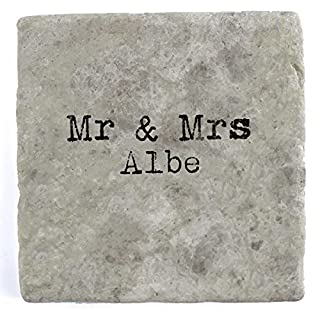 Mr & Mrs Albe - Set of Four Marble Tile Drink Coasters