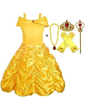 Alead Prinzessin Kostüm Belle Kleid und Zubehör, Handschuhe, Diadem, Zauberstab und Halskette