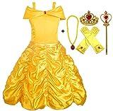 Alead Costume da Principessa Belle Vestiti ed Accessori di Guanti, Diadema, Bacchetta Magica Collana (2-3 anni)
