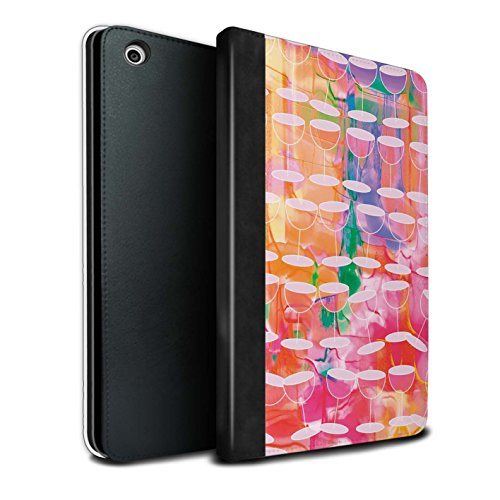 STUFF4 PU Pelle Custodia/Cover/Caso Libro per Apple iPad Mini 1/2/3 tablet / Acquerello Vino / Vibrante Moderna disegno