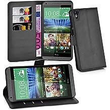 Cadorabo - Funda HTC DESIRE 820 Book Style de Cuero Sintético en Diseño Libro - Etui Case Cover Carcasa Caja Protección (con función de suporte y tarjetero) en NEGRO-FANTASMA