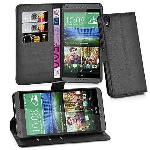 Cadorabo - Etui Housse pour > HTC DESIRE 820 < – Coque Case Cover Bumper Portefeuille (avec stand horizontale et fentes pour cartes) en NOIR DE JAIS