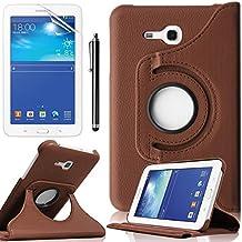 Funda Samsung Galaxy Tab 3 7.0 Lite,Marrón Elegante 360º Rotación Funda de Cuero con Soporte para Samsung Galaxy Tab 3 Lite 7'' Tablet SM-T110 Case Cover con Multi-Vista de ángulo+ Protectores de Pantalla + lápiz óptic