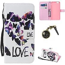 """PU iPhone 7 (4.7 pouces) Coque Bookstyle Étui Fleur Housse en Cuir Case à rabat pour iPhone 7 (4.7"""") Coque de protection Portefeuille TPU Case Cover (+Bouchons de poussière) (2)"""