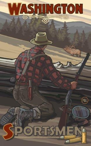 Northwest Art Mall Washington, Elk Hunter Kunstdruck von Paul A Lanquist, 28 x 43 cm -