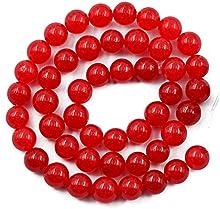 15Inch Cuentas Abalorios Redondos Piedras Preciosas Sueltas Accesorio para Bisutería Artesanal Rojo 8mm