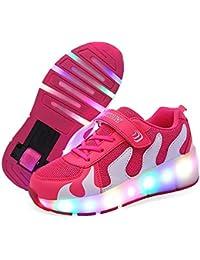 Twippo Niños Niñas Iluminar Zapatos con Ruedas con 2 Ruedas Zapatillas De Skate para Niños Jóvenes