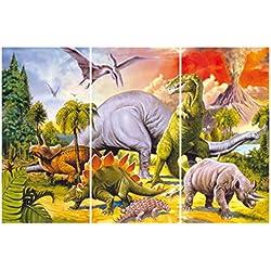 Dinosaurios - Collage, Mundo Dino, 3 Partes Cuadro, Lienzo Montado Sobre Bastidor (180 x 120cm)