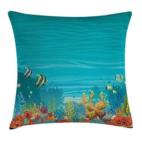 Ocean Animal Decor Throw Pillow Cushion Cover by, Natural Submarine Scene with Starfish Sponge Sea Plants Bottom Depth Image, Decorative Square Accent Pillow Case, 18 X 18 Inches, Multi
