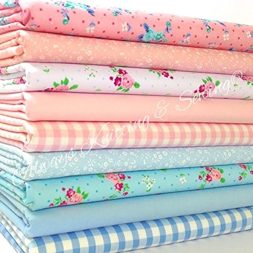 Siempre hacer punto y costura de retales de polialgodón Fat - Florals, para niños, bebé telas 20 x 55,88 cm 9 Fq Emily juego