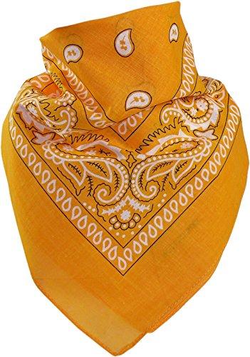 Harrys-Collection Bandana Bindetuch 100% Baumwolle (1 er 6 er oder 12 er Pack), Farbe:goldgelb (T Bandana)