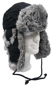MFH Fur Hat with Rabbit Fur Quilt Lining black Size:S