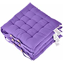 Homescapes Purple Seat Pads for Dining Chair, Set of 4 100% Cotton Chair Pads with Straps, 40x40 cm