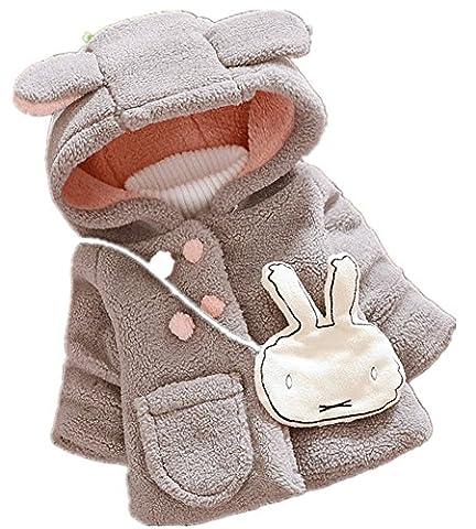 Yan's Baby Girl Fur Wool Winter Warm Coat Jacket Thick Winter Cloak (18-24 Months, Grey)