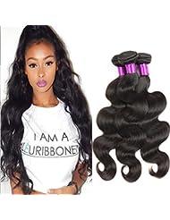 Bracelet du corps brésilien Cheveux vierges Weave 3 lots Non transformés Grade 6A + 100% Extensions de cheveux...