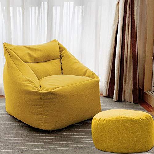Hocker XUERUI Sitzsack Und Osmanisches Set Liege Schlafsaal-Stühle Zum Liege Sofa Bett Zuhause, Büro Kinderzimmer Möbel Stühle (Color : Yellow, Size : Chair+Footstool) -