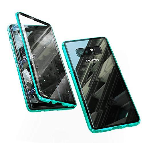 Jonwelsy Hülle für Samsung Galaxy Note 8, Magnetische Adsorption Metall Stoßstange Flip Cover mit 360 Grad Schutz Doppelte Seiten Transparent Gehärtetes Glas Handyhülle für Samsung Note 8 (Grün)